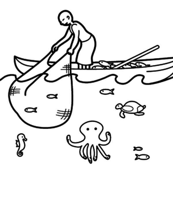 Fishing Boat, : Fishing Boat Catching Fish with Net Coloring Pages ...