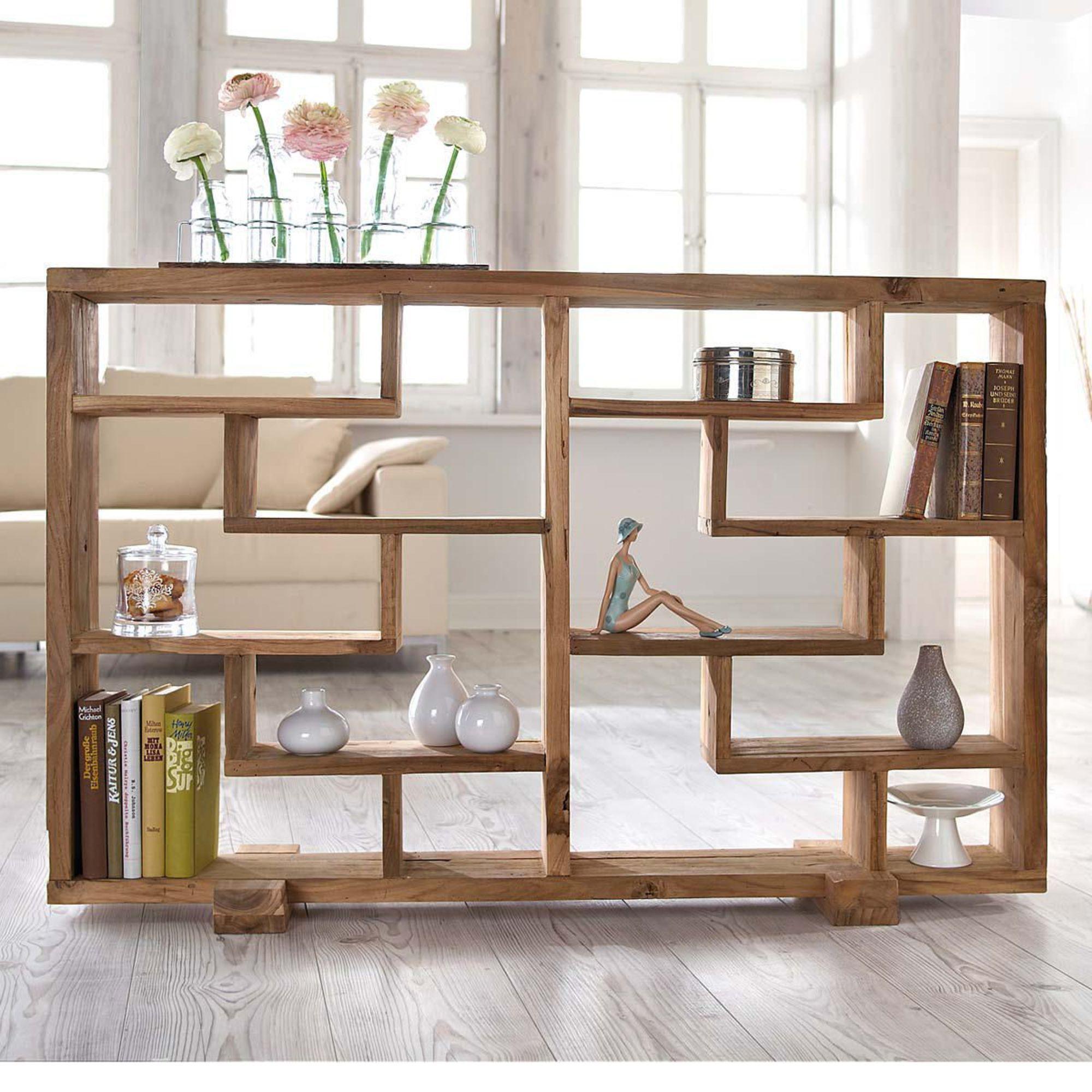 Raumteiler Woody Naturbelassen Teak Holz Raumteiler Regal