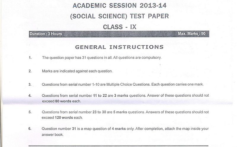 Cbse Class Ix Social Science Sample Paper Part A  Projects To Try