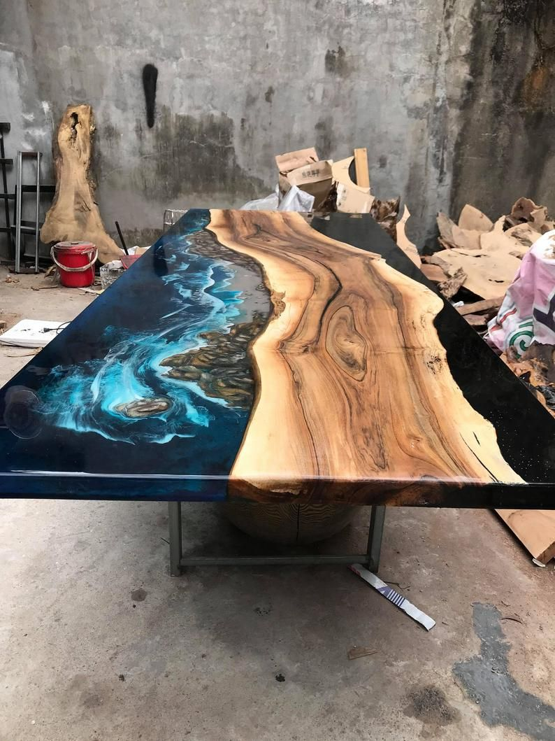 Giant Coffee Table Epoxy Table River Table Ocean Table Etsy Epoxy Wood Table Wood Resin Table Wood Table Design [ 1059 x 794 Pixel ]
