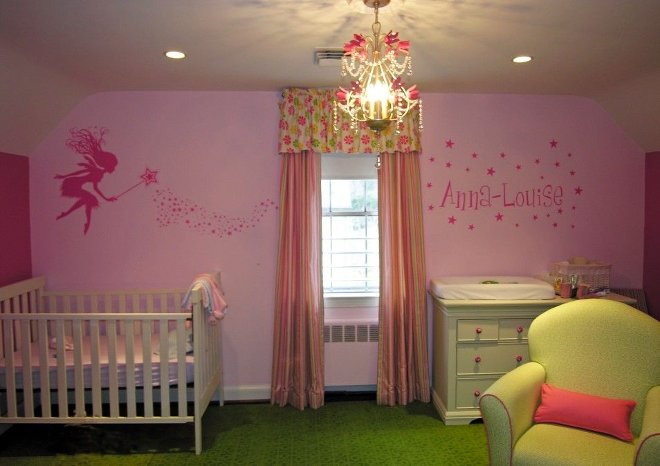 The Luxury Pink Wall Decoration Design In Cute Little Girl ...