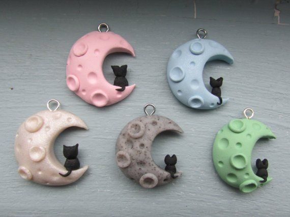 Photo of 6 Colors Black Cat on a Moon Polymer Clay Charm