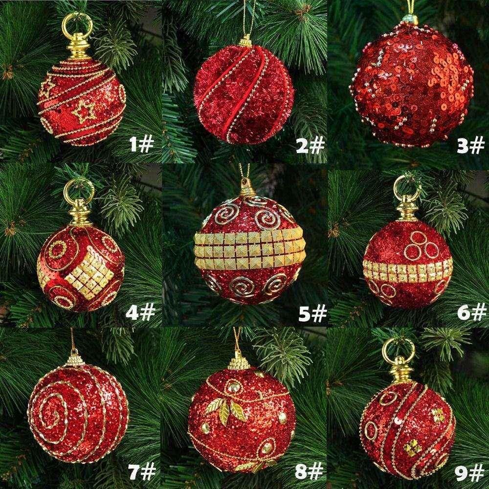 8cm 80mm Christmas Decor Luxury Round Wedding Xmas Tree Ornament Decoration Home Office Diy Festival Celebration