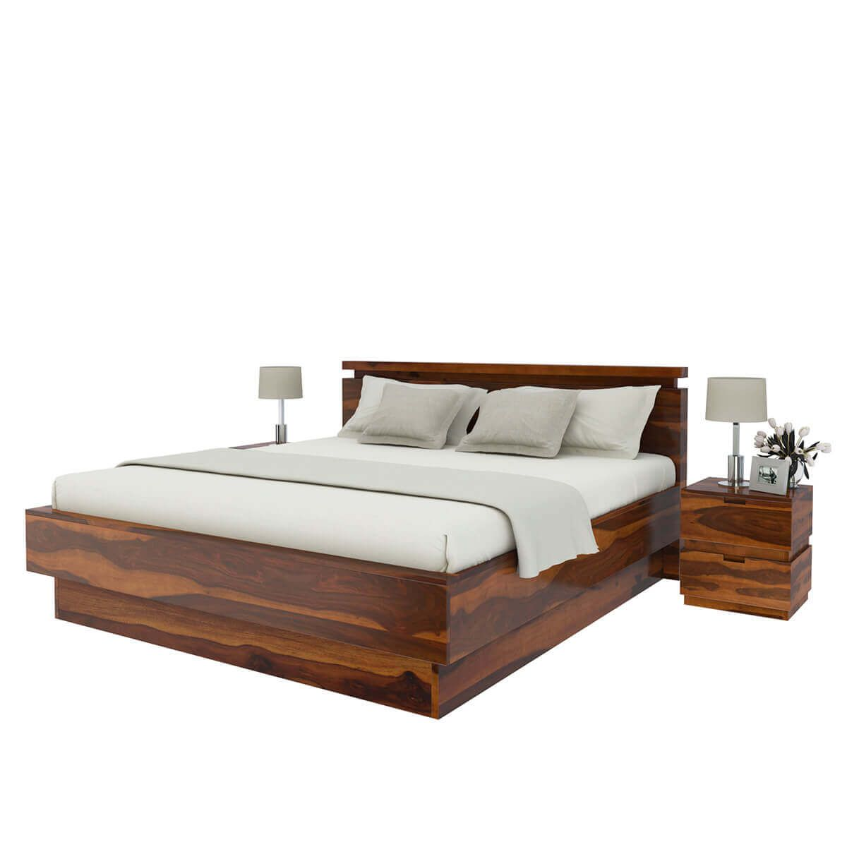 Modern Simplicity 4 Piece Bedroom Set Wood Platform Bed Solid