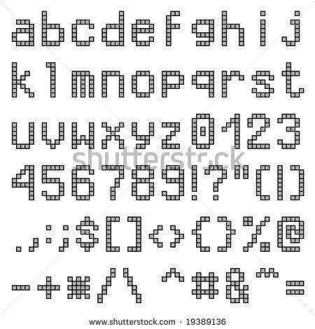 Pixel Alphabet Lowercase Lower case letters pixel font for