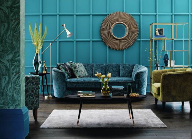 Colour of the week | Peacock blue living room, Blue living ...