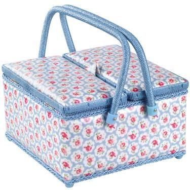 Hobby Gift Classic Twin Lid Wicker Sewing Box Haby Cats