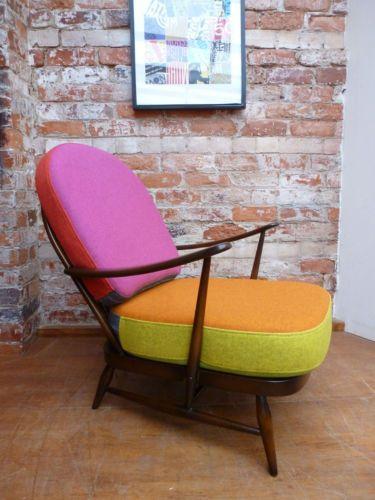 60u0027s Retro Ercol 203 Windsor Arm Chair Multi Coloured Wool Cushions Vintage  | EBay £350