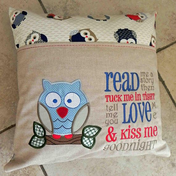 Child s cushion with reading book pocket children