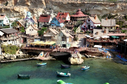 Popeye Village Malta is located at Anchor Bay on the north-west end of Malta. Also, know as Sweethaven Village it was actually built as a film set for the 1980s musical production 'Popeye'. Today it is a tourist attraction. Photo Credit Français. (1920 x 1280)