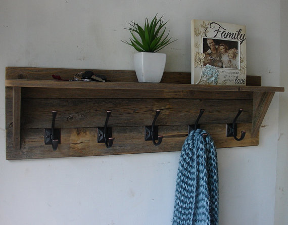 Rustic reclaimed wood hanger coat rack with shelf new