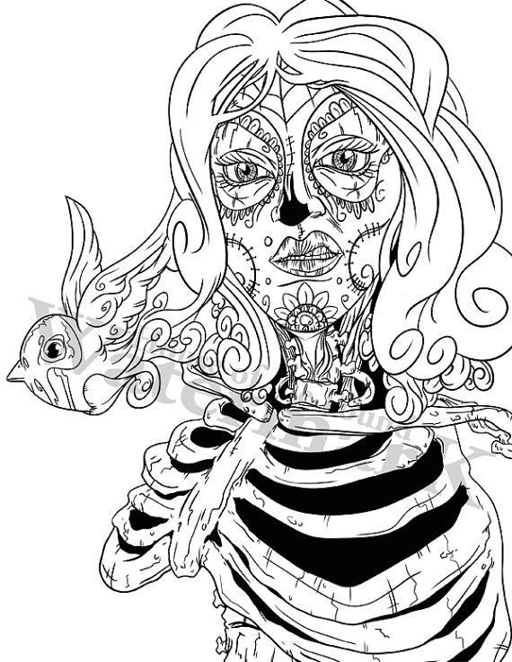 Halloween Coloring Pages Sugar Skull Skeleton By HouseOfTheFound