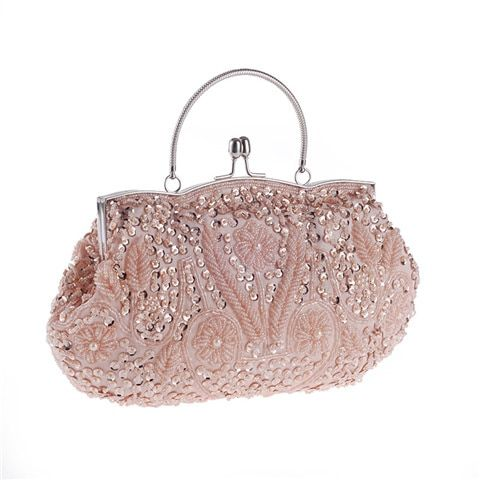 Women Clutch Bags Beads Evening Ladies Beaded Embroidered Wedding Party Bridal Handbag Small Flower Women Chain Bags Color Gold Silver #chainbags