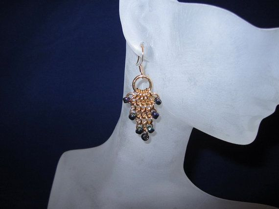 Gold Chainmaille Grape Cluster Earrings by CaptiveRingz on Etsy
