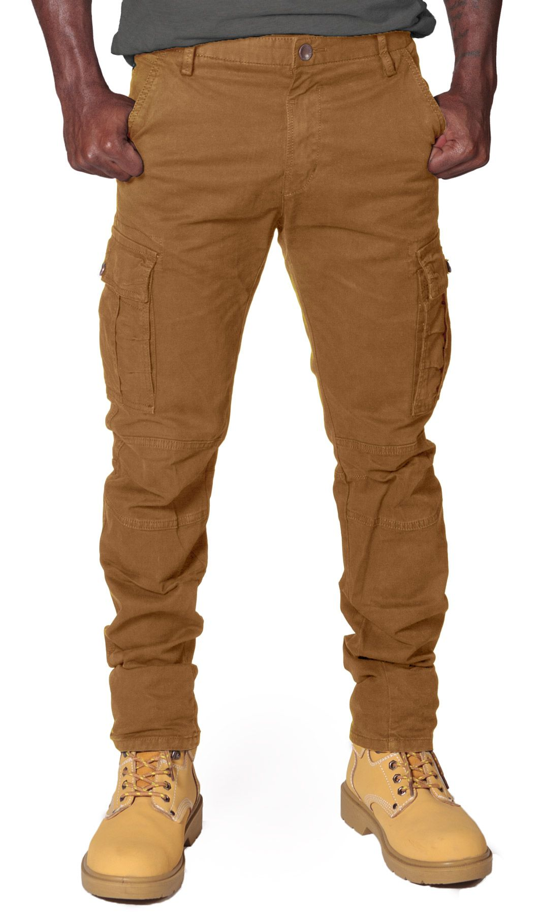 Men's Slim Fit Cargo Trousers - Light Brown. Slightly stretchy ...