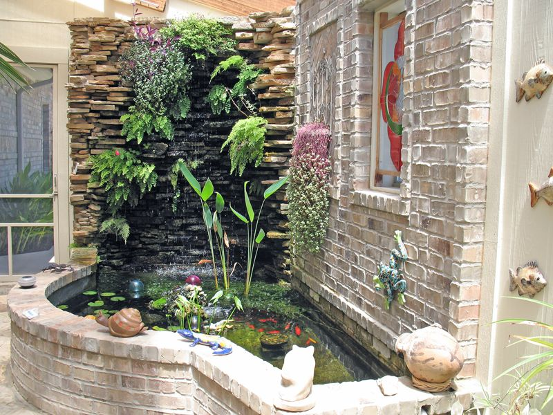 Waterfall landscape plants have been included in an for Balcony features