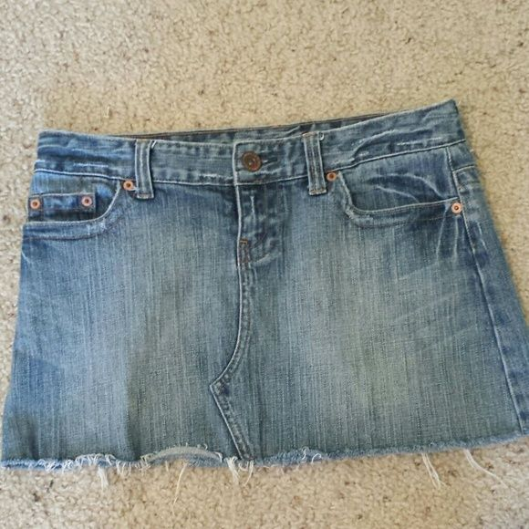 American Eagle Denim Mini This is so cute. Hardly worn. Was bought with distressed bottom. American Eagle Outfitters Skirts Mini