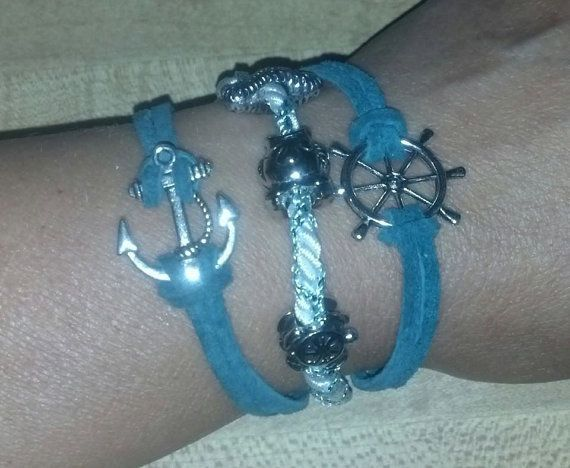 Nautical Anchor & Wheel Rope Bracelet by LilCreationsCrafts