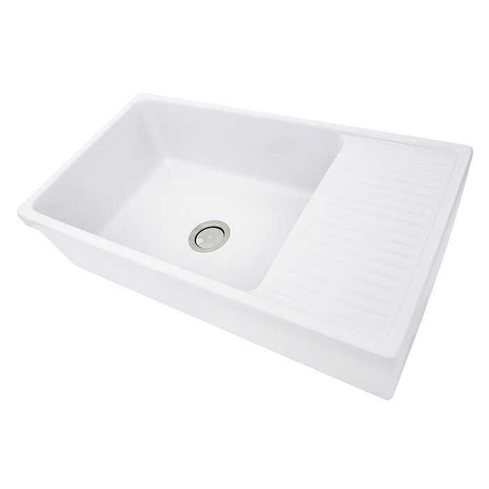 Fireclay Kitchen Sink With Drainboard
