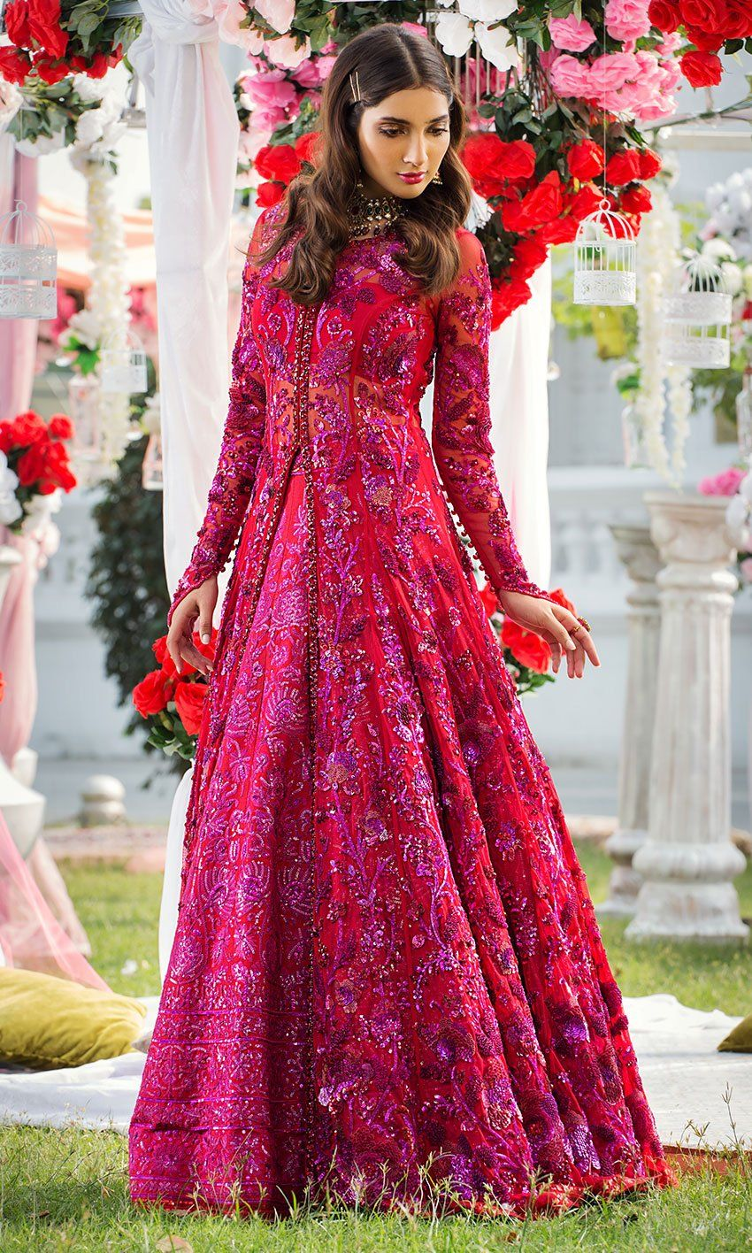 Pakistani Red Bridal Frock for Wedding N7028 in 2020