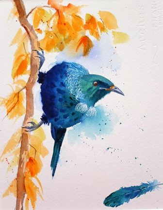 Tui And Feather Watercolor Paintings Art Painting