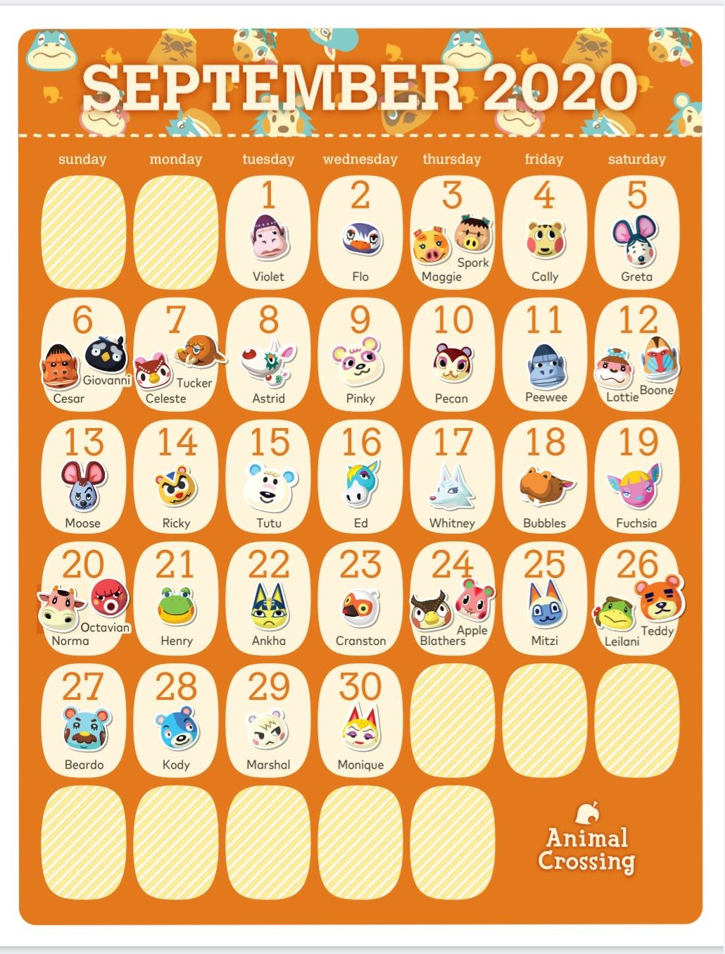 animal crossing villagers birthdays march