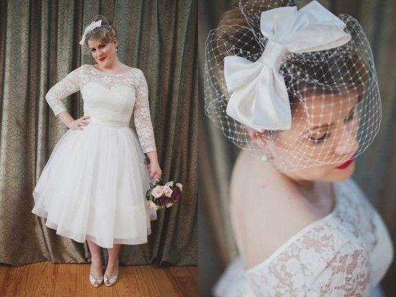 60ies Wedding Dress.60ies Inspired Tea Length Silk Organza Skirt Ivory Lace