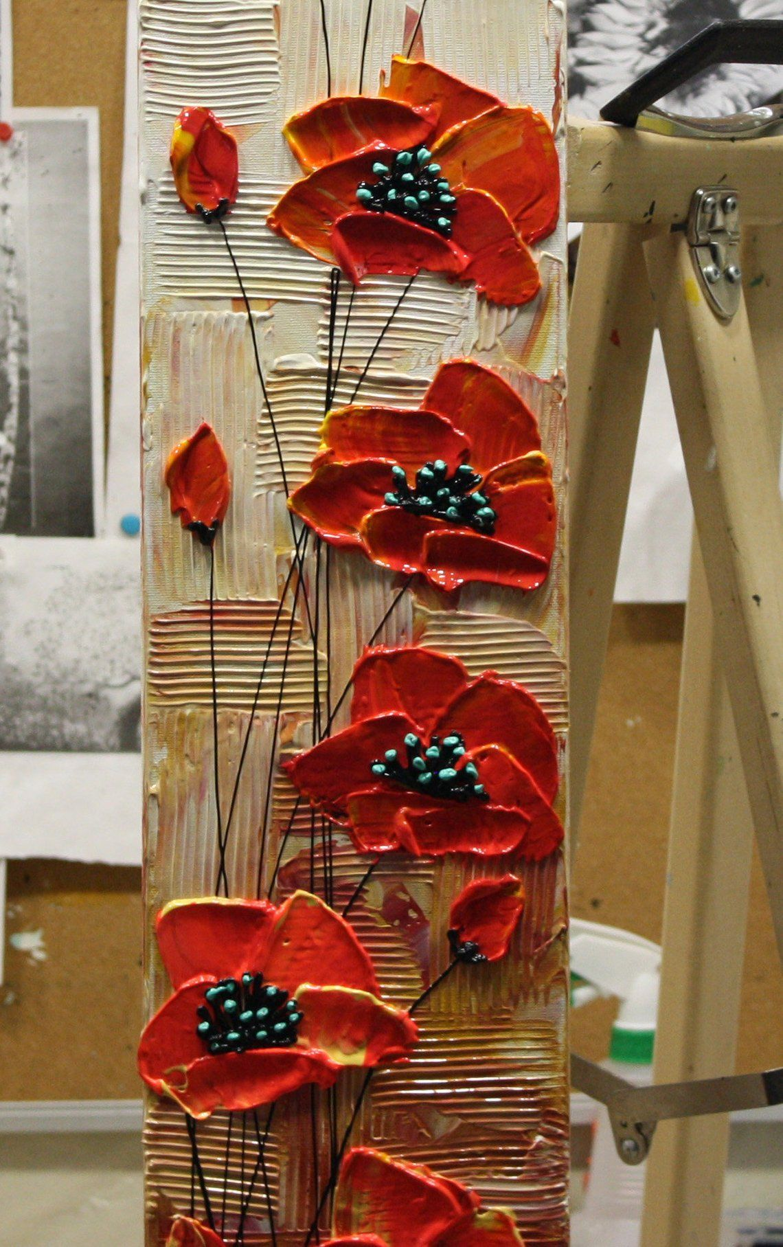 Red Poppy Painting Textured Flower Art Abstract Pa