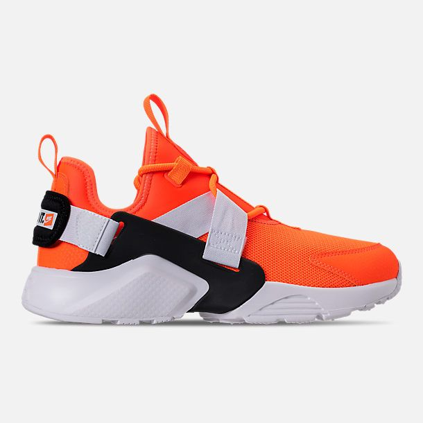 buy popular fc614 39027 Right view of Women s Nike Air Huarache City Low Premium Casual Shoes in  Total Orange White Black