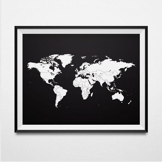 Black world map print black world map wall art black world map black world map print black world map wall art black world map poster printable map large world map world map silhouette digital map diy stuff and gumiabroncs Gallery