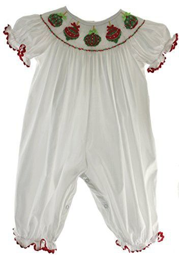 Infant Toddler Girls White Christmas Outfit Long Bubble Smocked Red