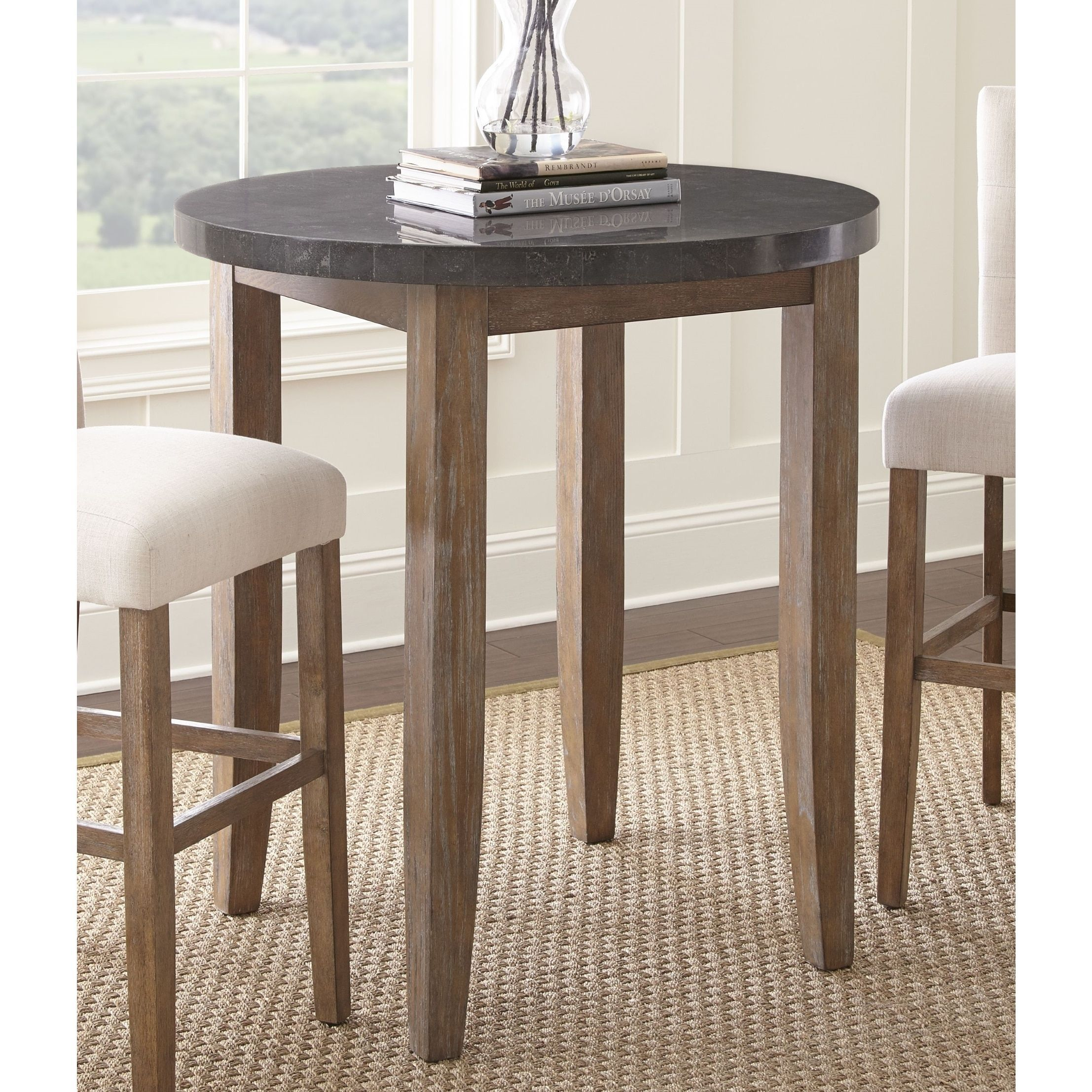 The Gray Barn Overlook 40 Inch Round Stone Top Pub Table