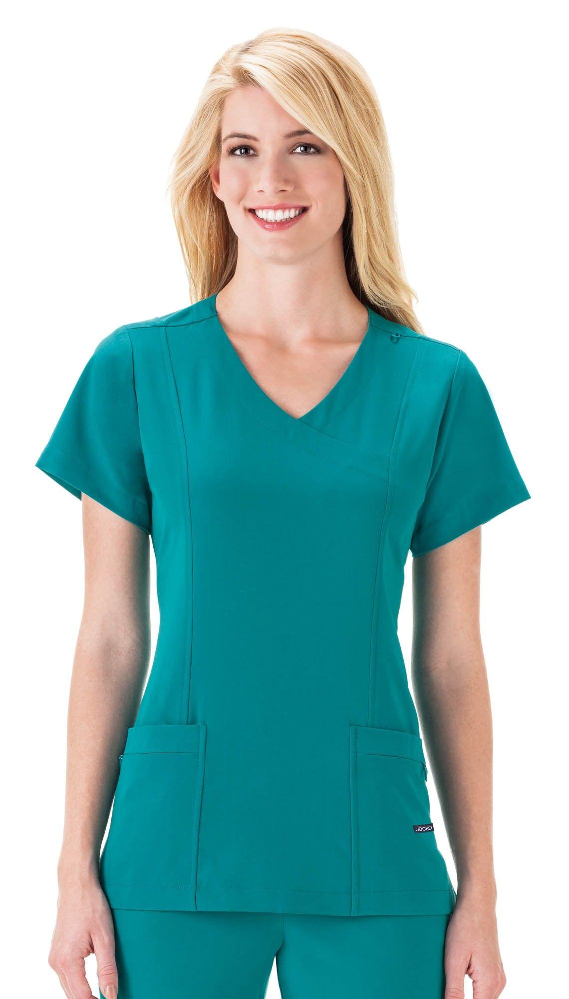 Plus Size Jockey Scrubs Classic Mock-Wrap Top, Med Green