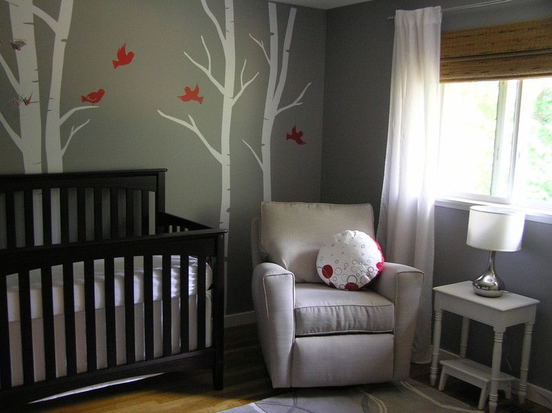 Soothing Gray Nursery With Birch Trees