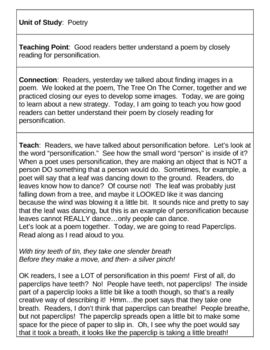 10 reading workshop lessons poetrylessons are in tc teachers college formatteaching point connect teach active engagement link share