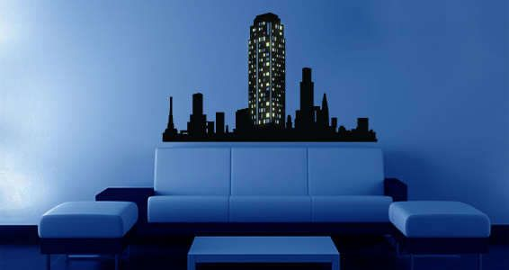 Glowing Cityscape Wall Decals Wall Decals Custom Wall Decals