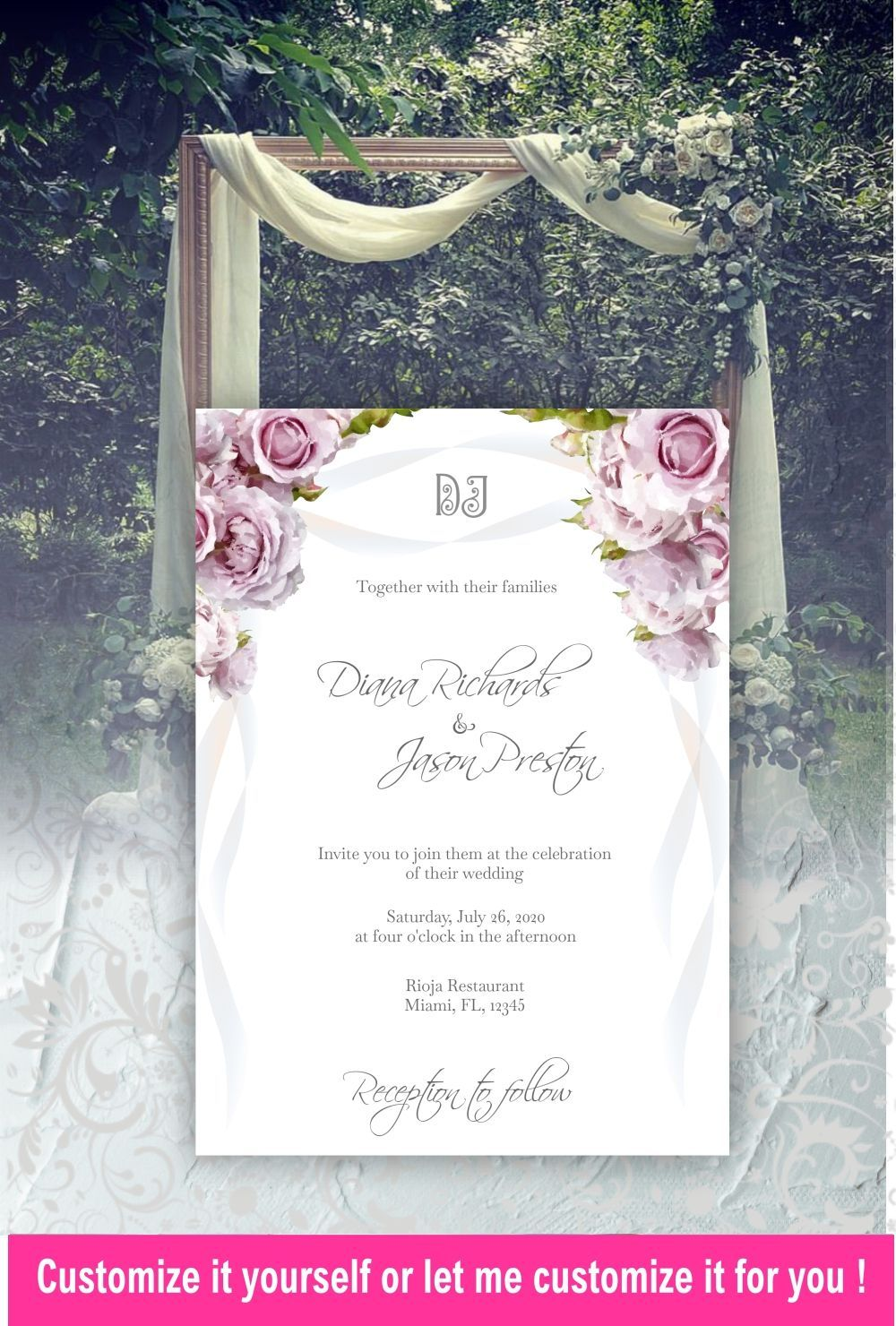Mauve wedding invitation template wedding invitation suite rose pink lilac wedding invitation belly band wedding RSVP with menu YDe4