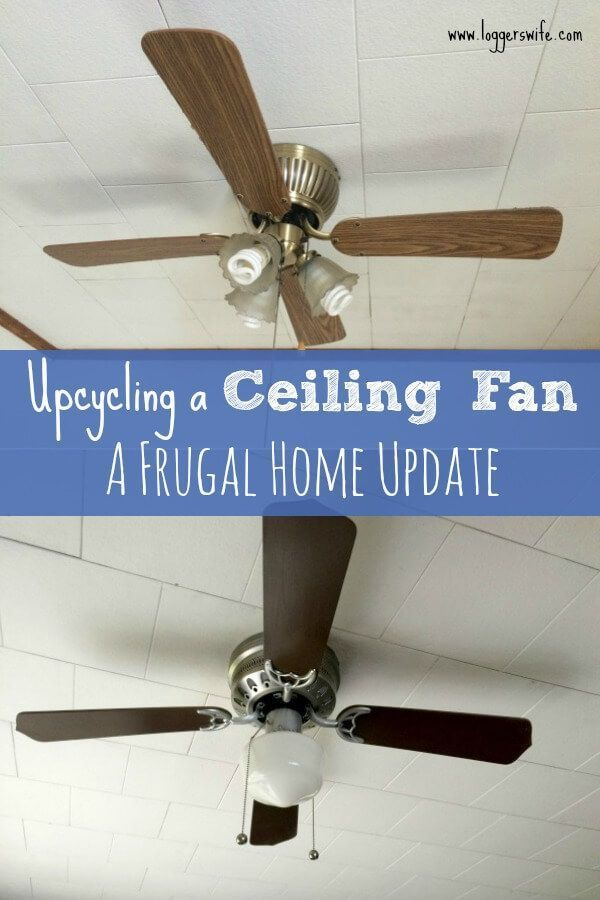 Upcycling A Ceiling Fan With Spray Paint Happy Frugal Mama Ceiling Fan Ceiling Fan Makeover Painting Ceiling Fans