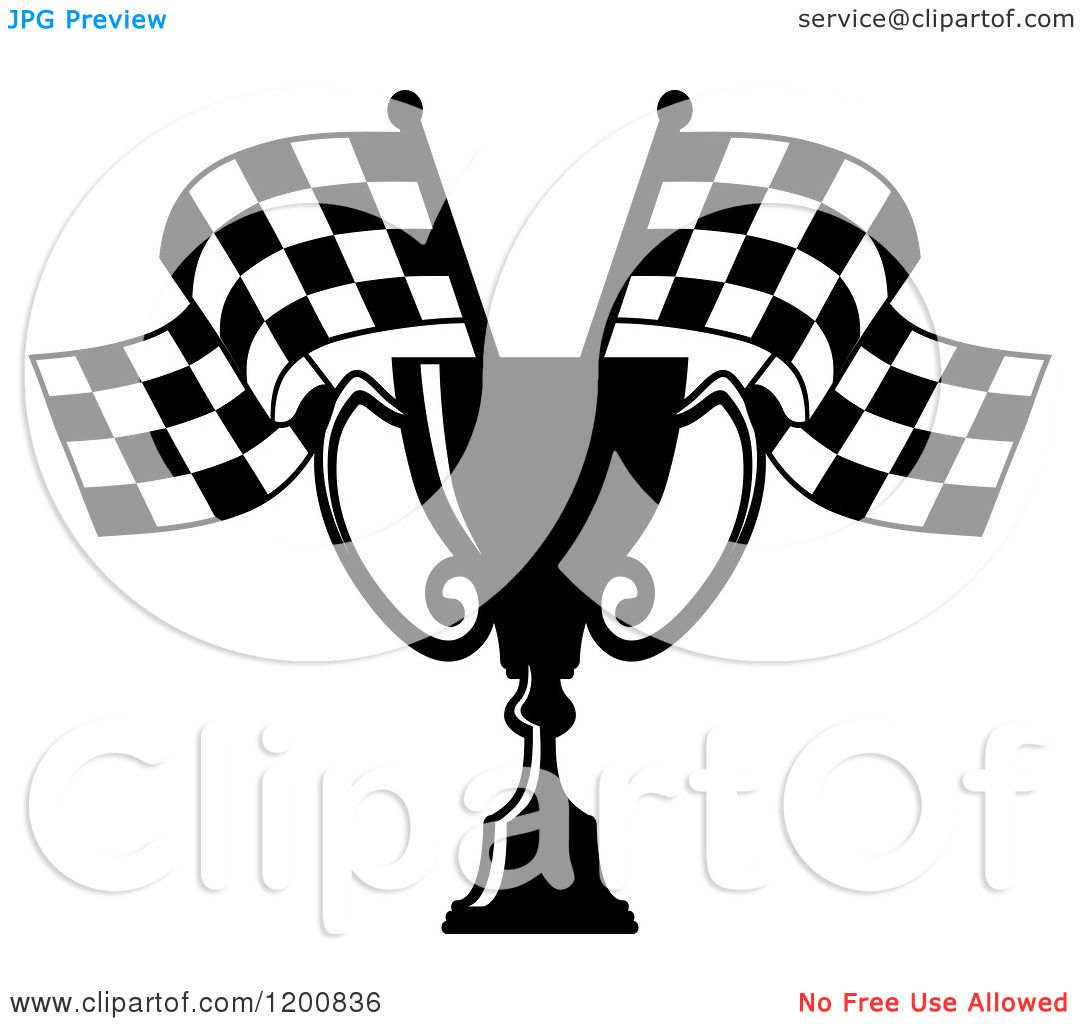Clipart Of A Black And White Racing Trophy Cup And