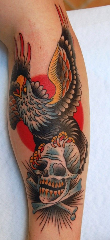 American Traditional Skull And Eagle: Tattoo Old School / Traditional Nautic Ink