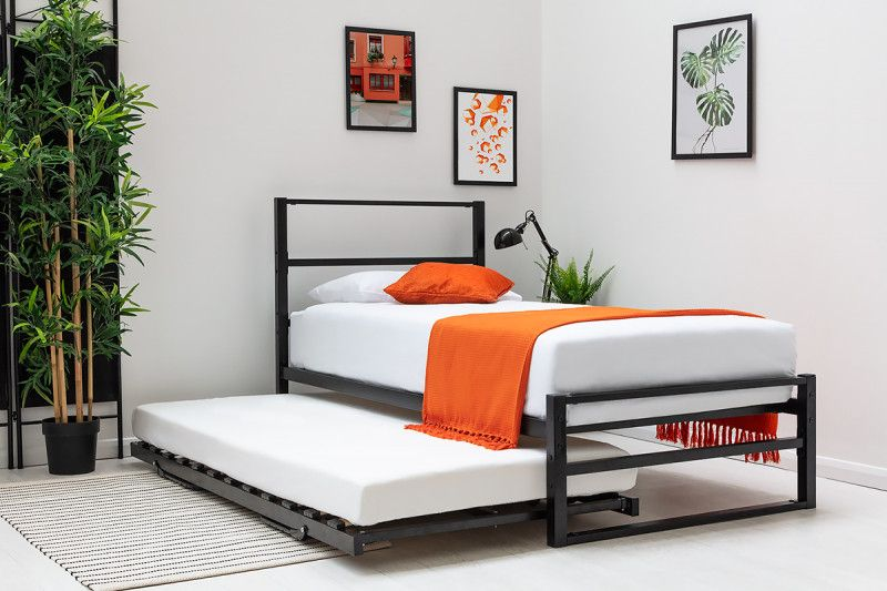 Hartfield Black Single Metal Bed Frame with Guest Bed ...