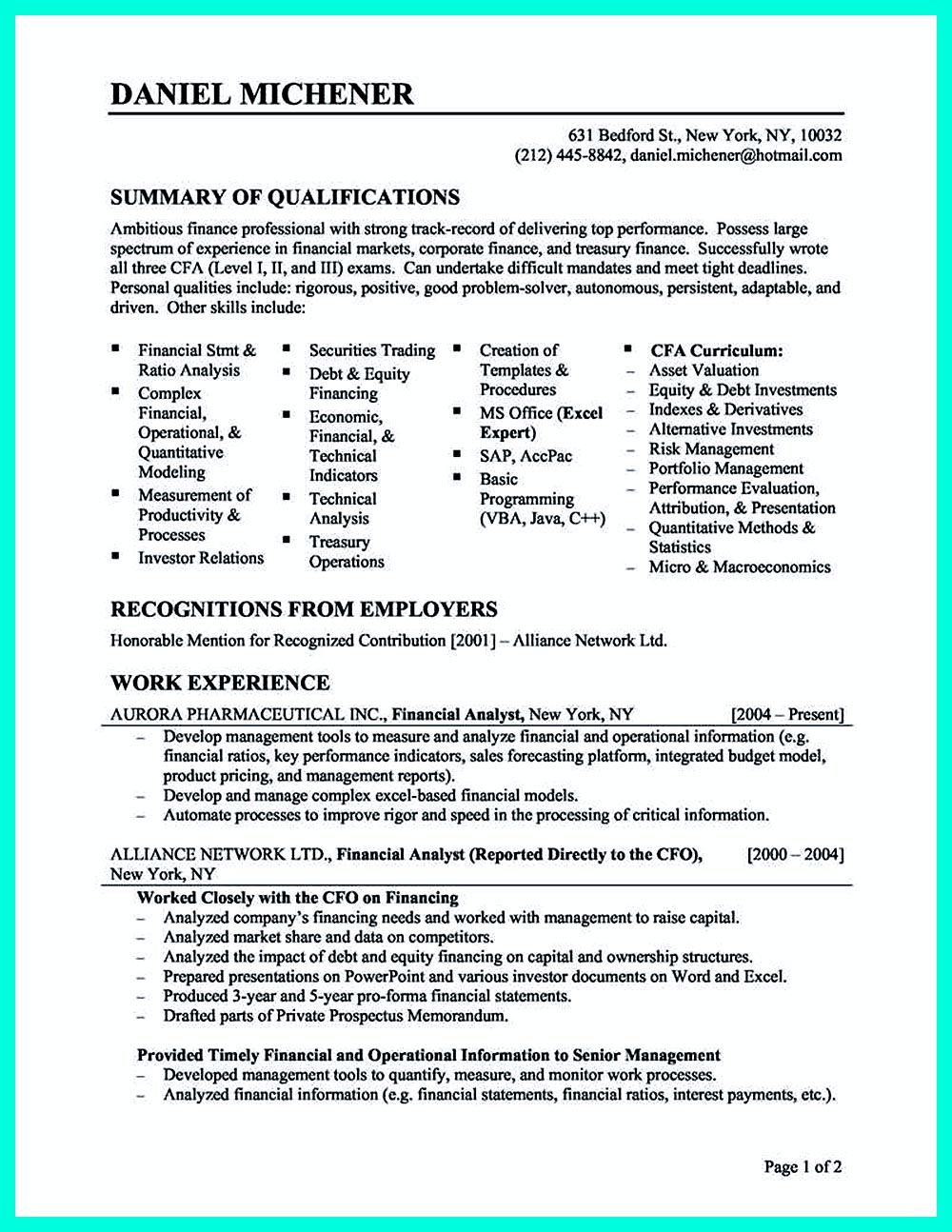 Cool Credit Analyst Resume Example From Professional Sample Resume Templates Job Resume Samples Good Objective For Resume