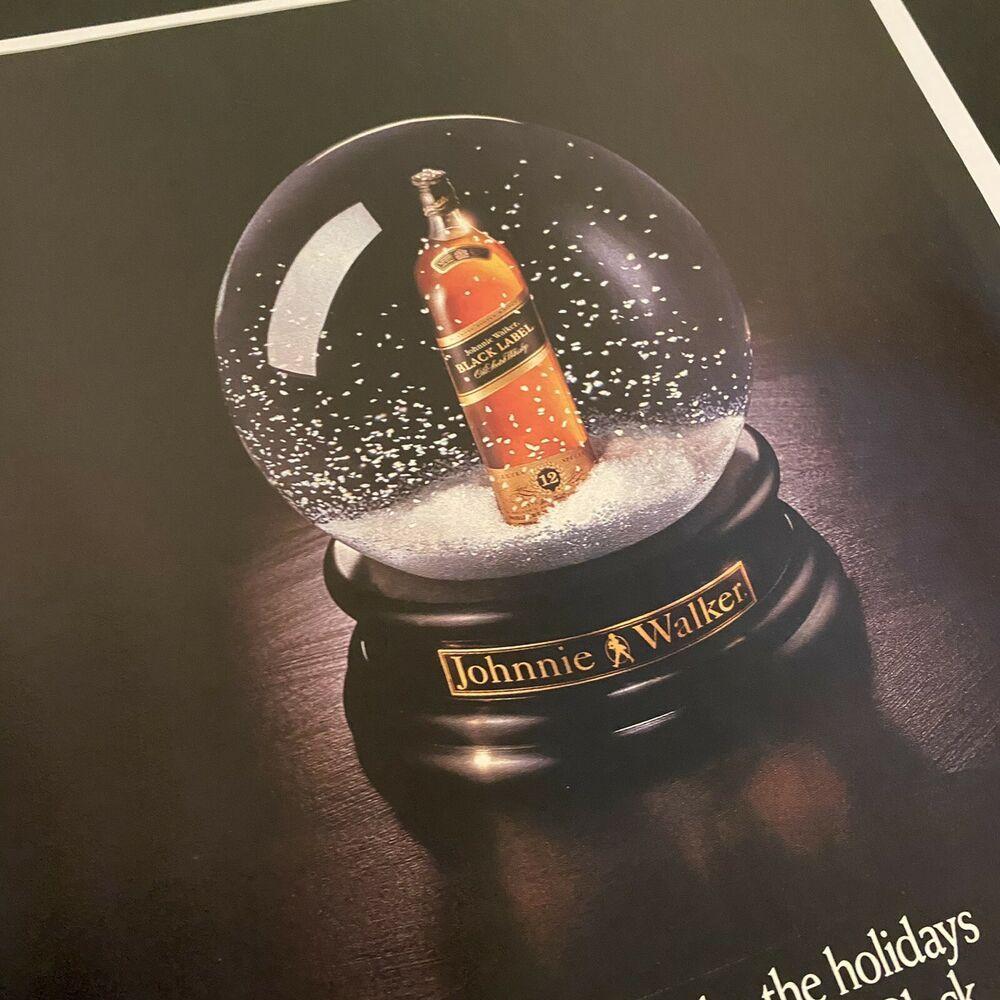 Vintage 1992 Johnnie Walker Black Label Christmas Snow Globe Magazine Print Ad #JohnnieWalker