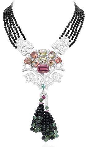 Van Cleef & Arpels; Arbre de Vie necklace, Palais de la chance collection. White Gold, onyx beads, diamonds, tourmalines, 8 two-tone tourmalines