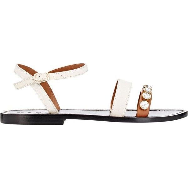 Marni Women's Jeweled Double-Band Sandals ($209) ❤ liked on Polyvore featuring shoes, sandals, white, embellished sandals, white ankle strap flats, jeweled sandals, open toe flats and white flat shoes