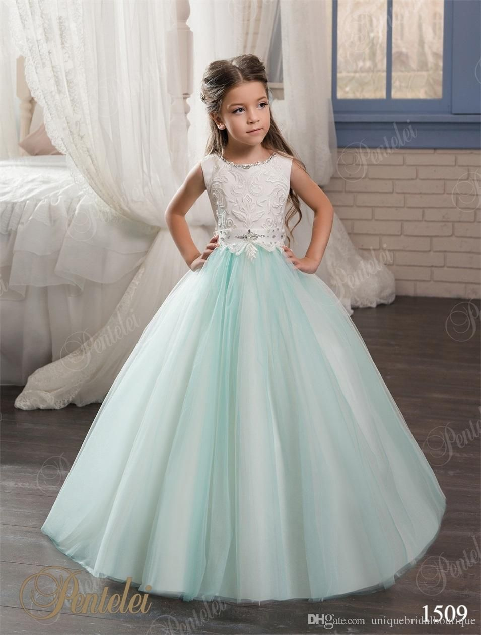 1ed1434976 Kids Evening Gowns 2017 Pentelei With Jewel Neck And Lace Up Back Beaded  Crystals Mint Flower