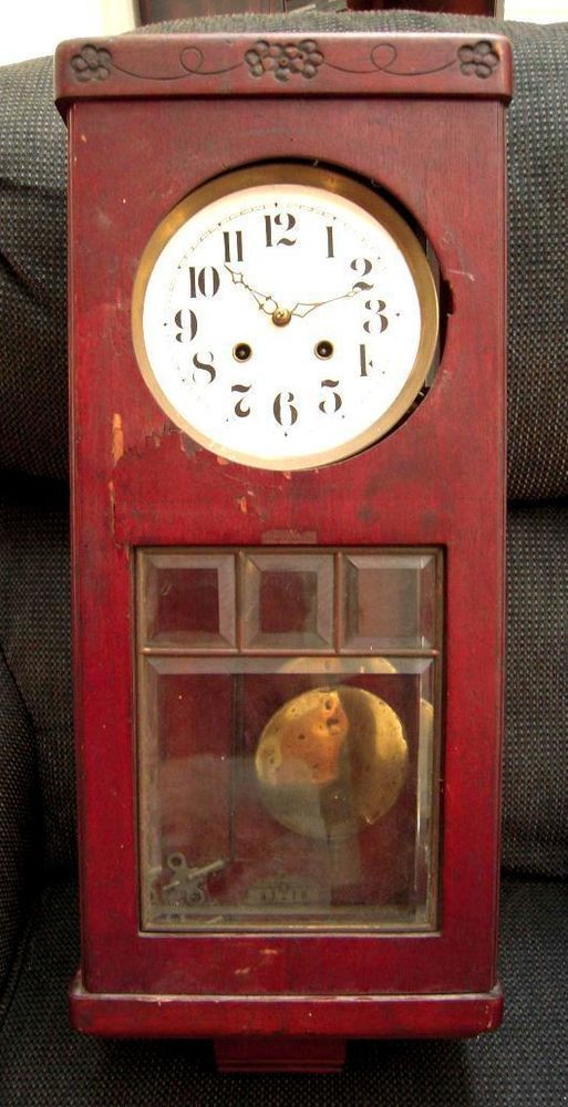 antique BEAUTIFUL! ARTS CRAFT MISSION SHAKER WALL CLOCK ~ESJ w/KEY+ ...