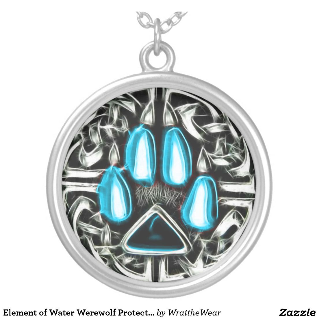 Element Of Water Werewolf Protection Symbol Amulet Silver Plated