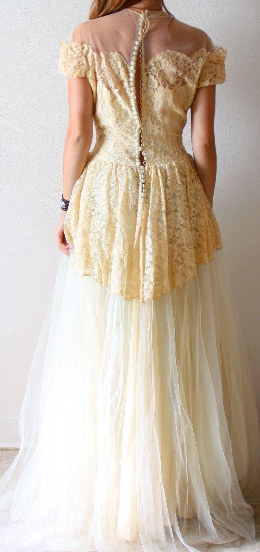 Vintage edwardian antique wedding dress shabby chic boho all lace