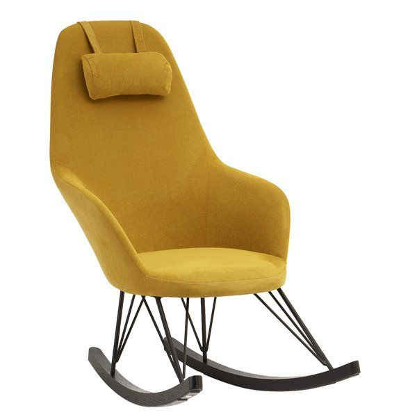 metal rocking chair runners lift recliner walmart traxler house ideas living room furniture the yellow fabric seat rocks back and forth on a pair of oak veneer